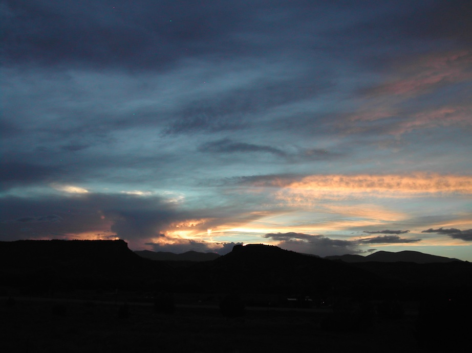 Jemez Mountains at sunset - ISO 100, 8mm, f2.8 @ 1/249 sec.