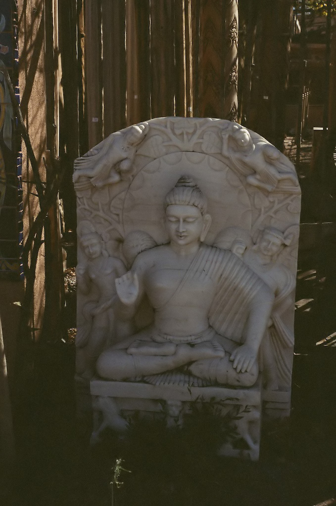 "Buddha in downtown Santa Fe - I used 'A' mode for ""street shooting"" so I don't know the aperture/shutter settings"