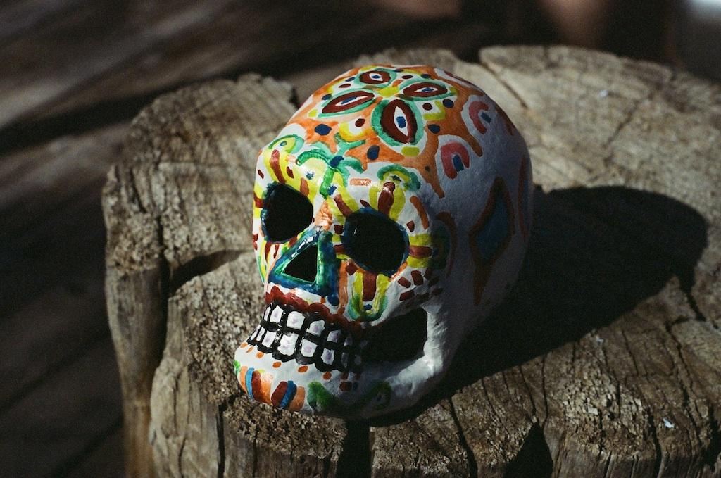 Papier mâché skull for El Día De Los Muertos