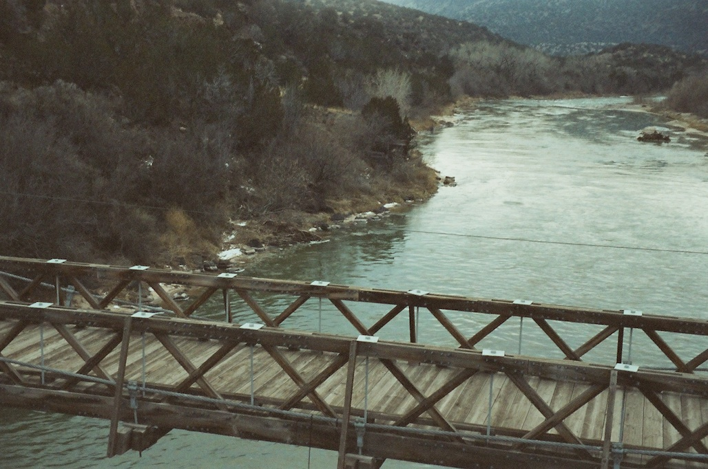 Old bridge at Otowi Crossing.  No idea of settings -- I was freezing my arse off.
