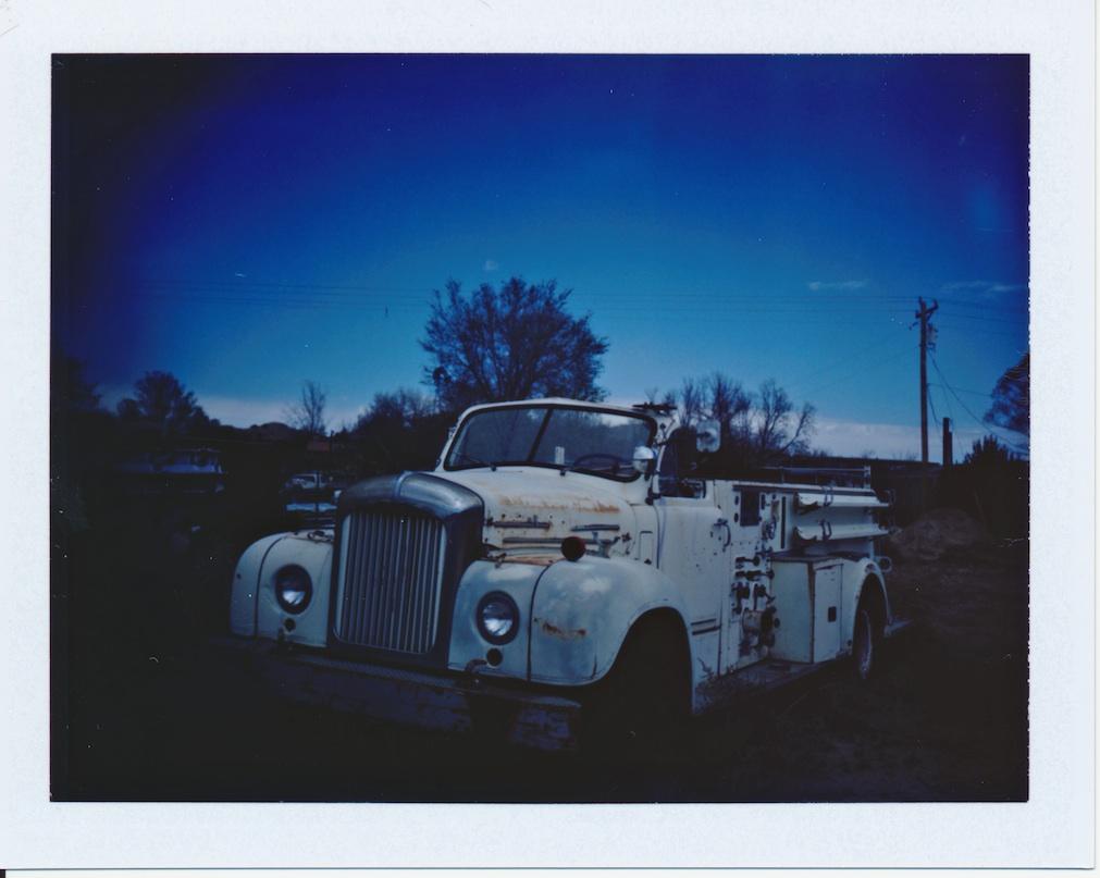 Old fire truck in La Puebla - Fuji FP100C film.