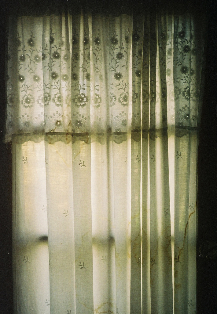 Water stained curtains.
