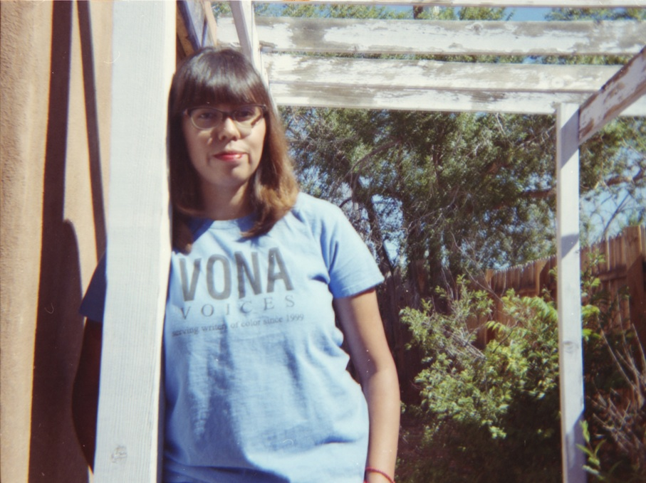 My sweetie rockin' Cher bangs and her cool VONA shirt.