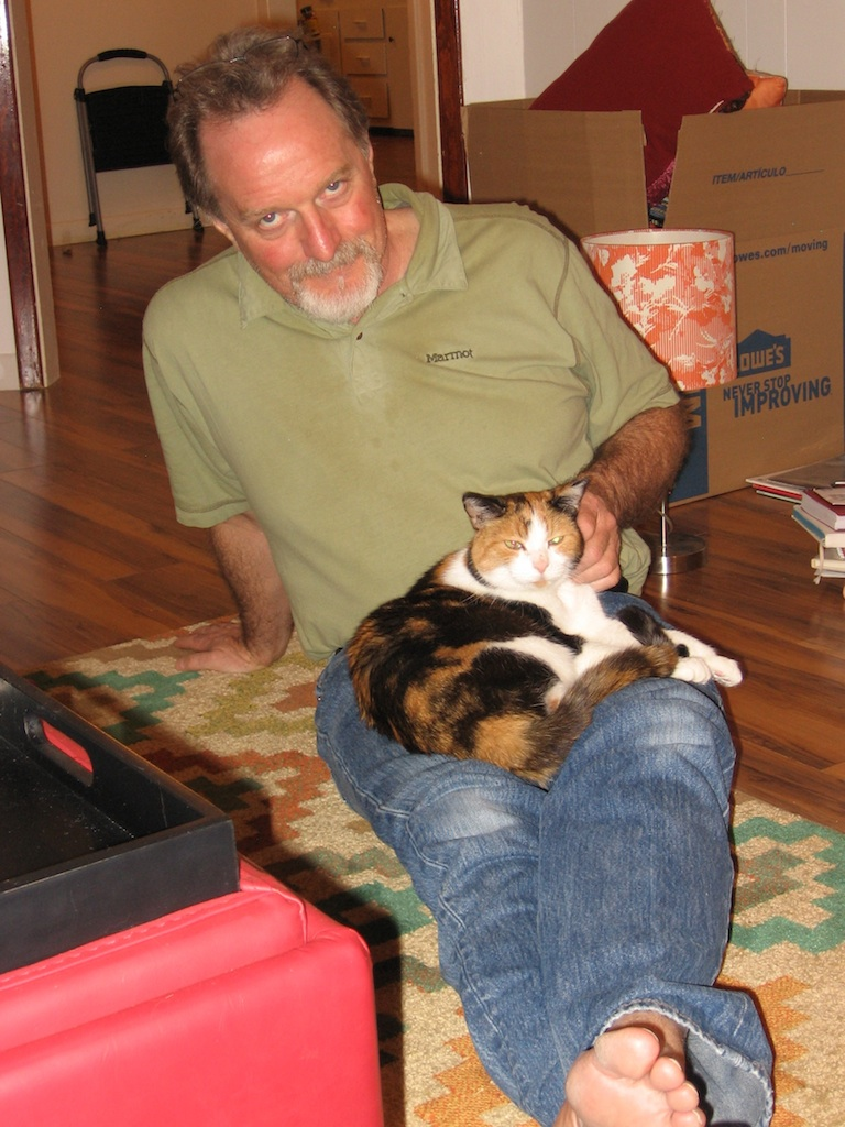 Me and Zoe the wonder cat in the new digs.  Photo by M.