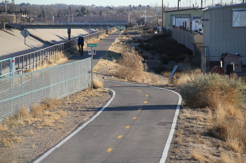 Multi-use trail near Roy Sekreta's memorial on Comanche Boulevard in Albuquerque, NM