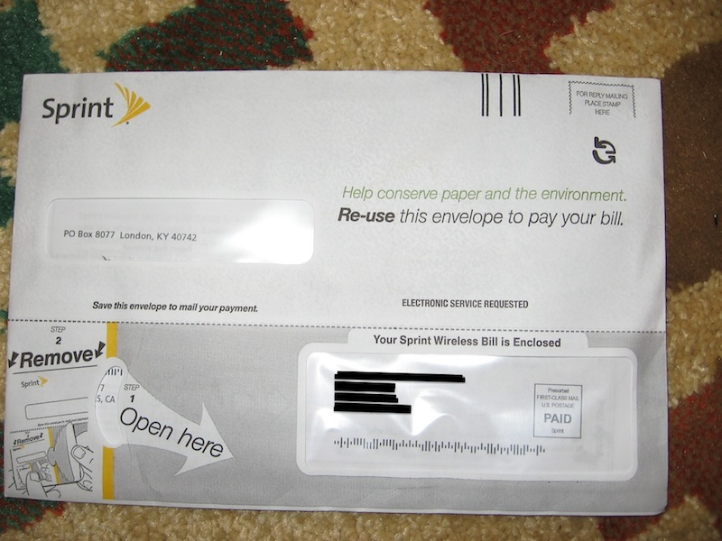Hey cool!  Sprint's using an envelope that becomes another envelope.