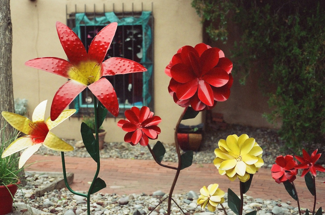 Metal flowers in Old Town Albuquerque.
