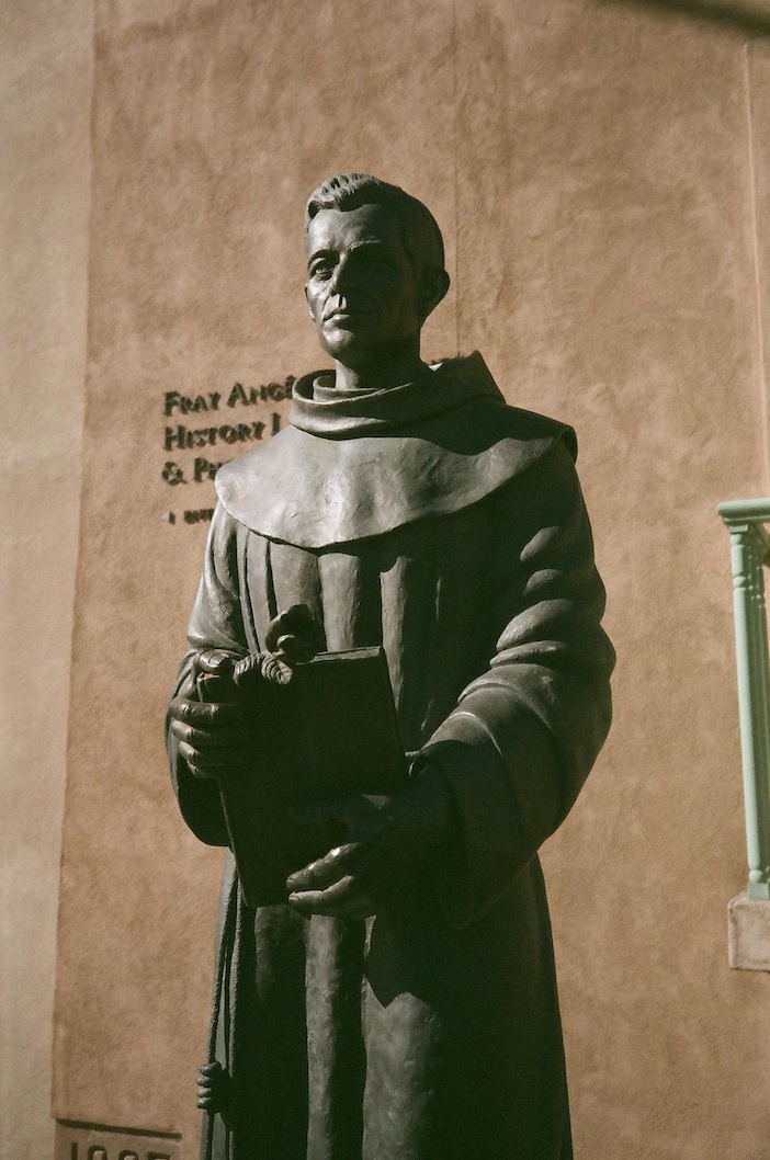 Statue of Fray Angélico Chávez outside his namesake History Library in Santa Fe.