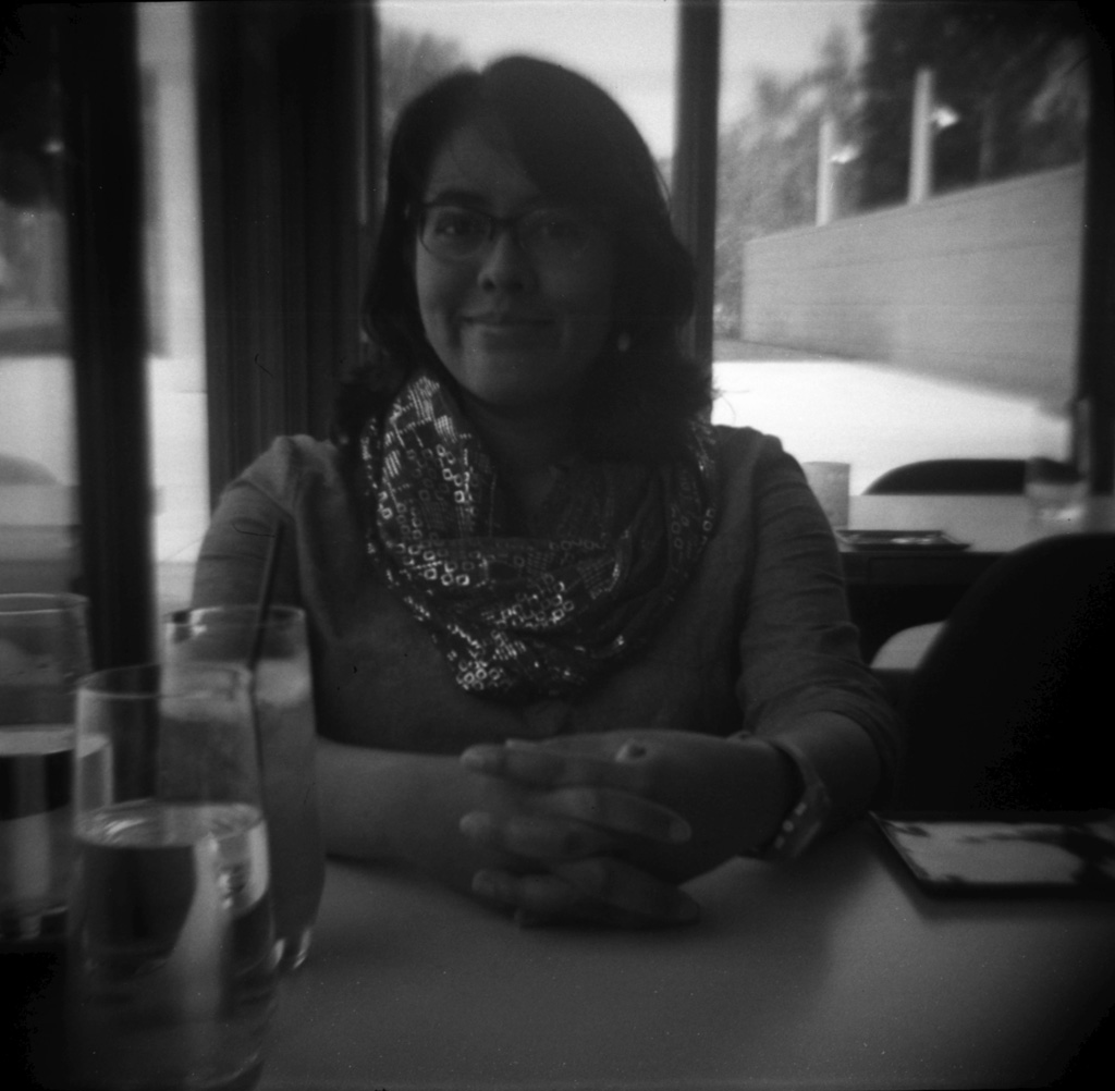 My sweetie at Ray's & Stark Bar at LACMA.
