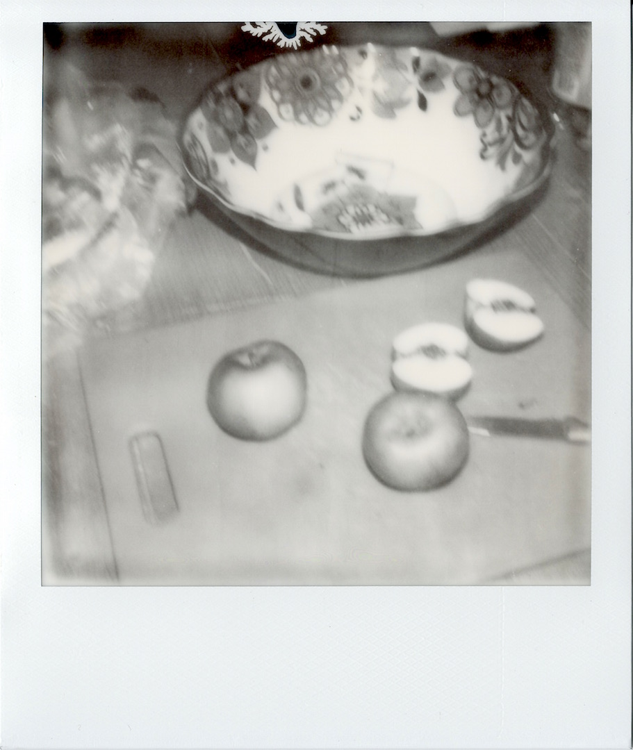 I was cutting out wormy bits to make juice with some of our apples.