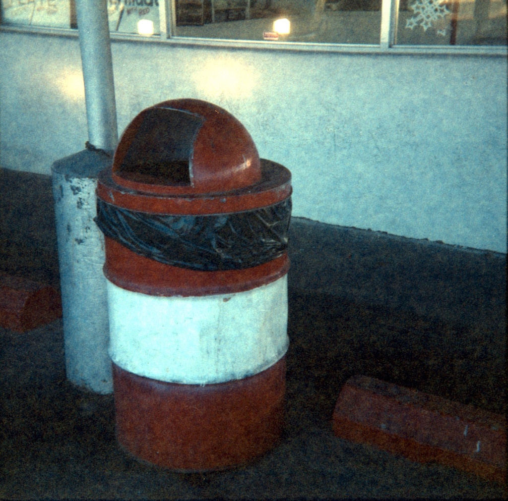 Grainy trash can.