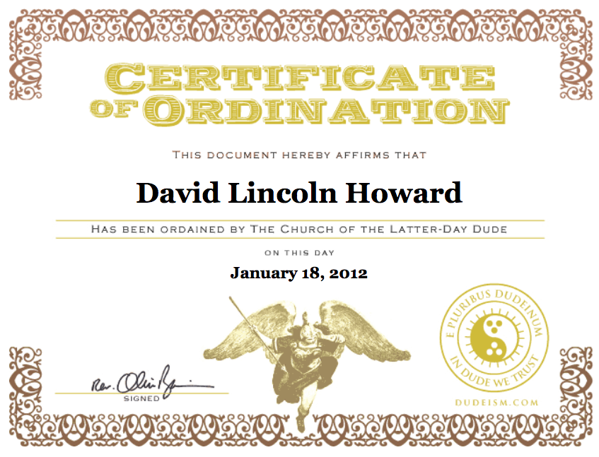 Not many people know I'm an ordained minister.