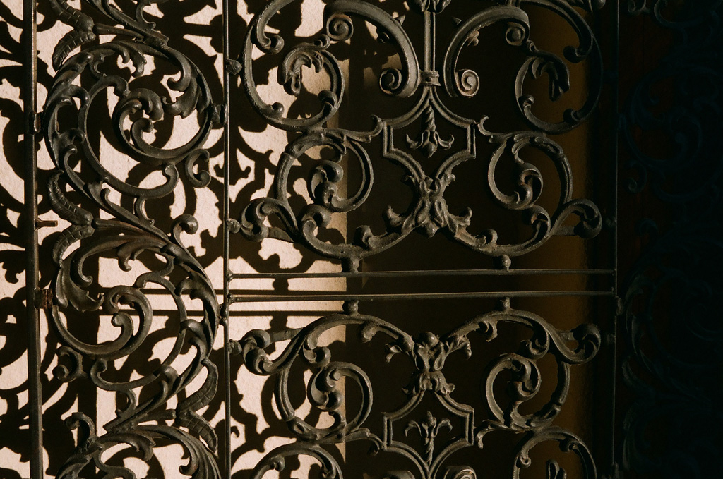 Iron gate near Il Vicino Pizza in Santa Fe.