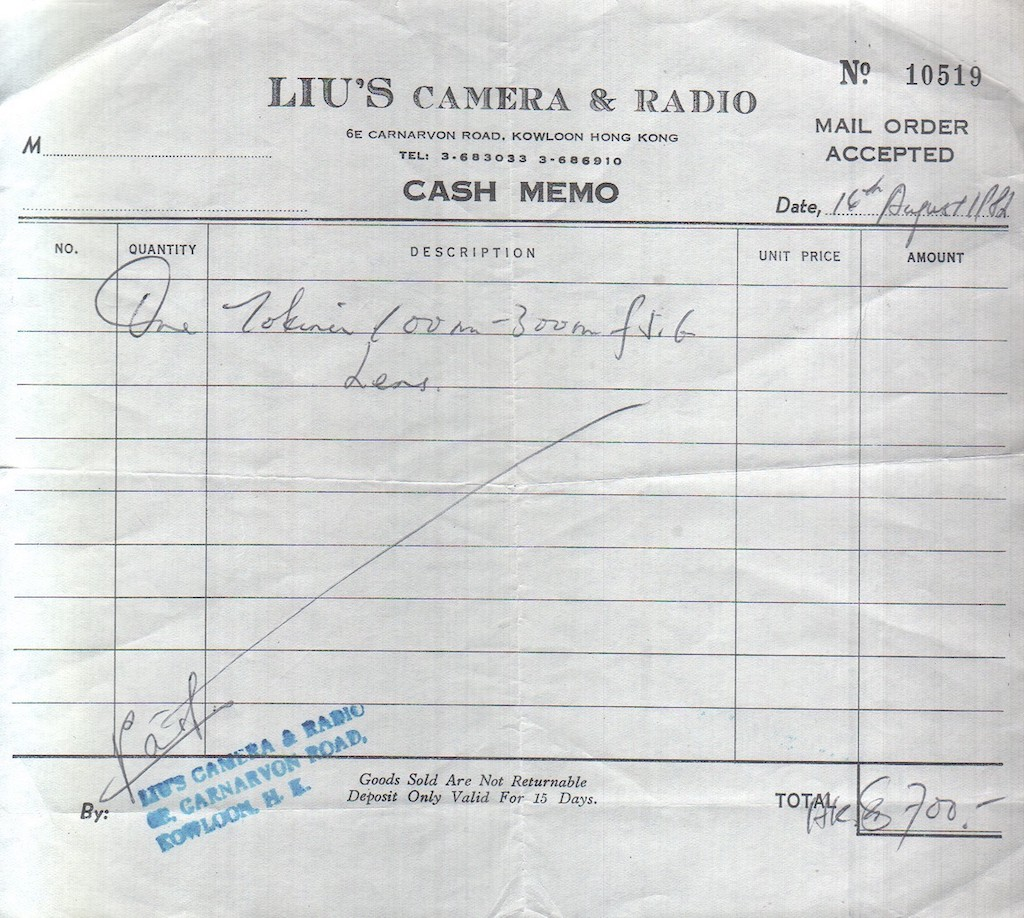 In 1982, the Tokina zoom was HK$700 from Liu's Camera & Radio