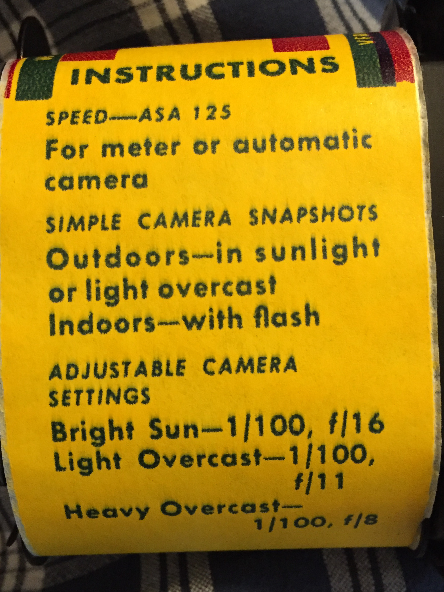Exposure instructions right on the backing paper