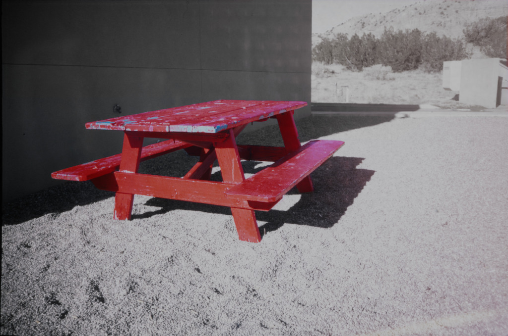 Red picnic table at the Camel Rock Valero.