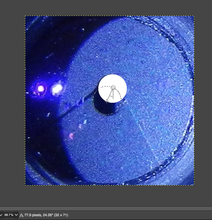 ISO 1000 w/o flash is a pill shape so a circle cut in 1/2 and a small rectangle approximate the area for f18.